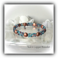 Copper & Teal Adjustable Crystal Wraparound Bracelet Gift Boxed Christmas Gift