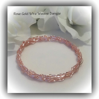 Rose Gold Wire Weave Bangle Gift Boxed for Christmas Mother Girlfriend Wife Gift