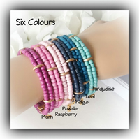 Seed Bead Adjustable Bangle Cuffs in Six Scrumptious Colours Gift Boxed Women