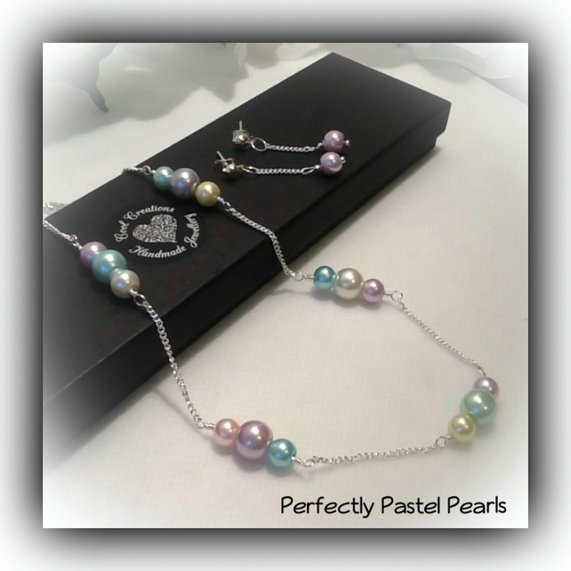 Pastel Pearl Necklace & Earrings Gift Boxed for Christmas Birthday Girl Friend
