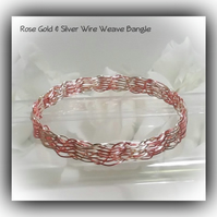 Rose Gold & Silver Wire Weave Bangle Bracelet Gift Boxed Christmas Mother Gift