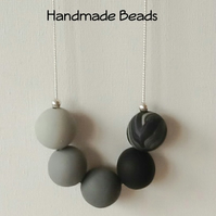 Grey & Black Contemporary Long Chunky Necklace with Handmade Beads Gift Bag