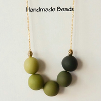 Green & Gold Long Contemporary Chunky Necklace with Handmade Beads Gift Bag