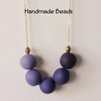 Purple Beaded Long Contemporary Necklace with Handmade Beads Gift Bag