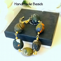 Faux Pebbles Gold Plated Adjustable Bracelet Gift Boxed for Christmas Birthday