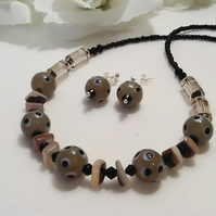 Taupe & Black Glass Beaded Necklace with Earrings Gift Boxed Christmas Gift