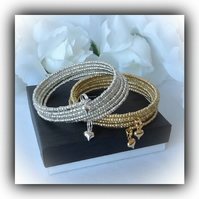 Gold or Silver 6 Strand Wraparound Bangle Bracelet Gift Boxed for Christmas Gift