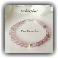 Sterling Silver Pink Gemstone Bracelet Gift Boxed for Christmas Birthday Gift