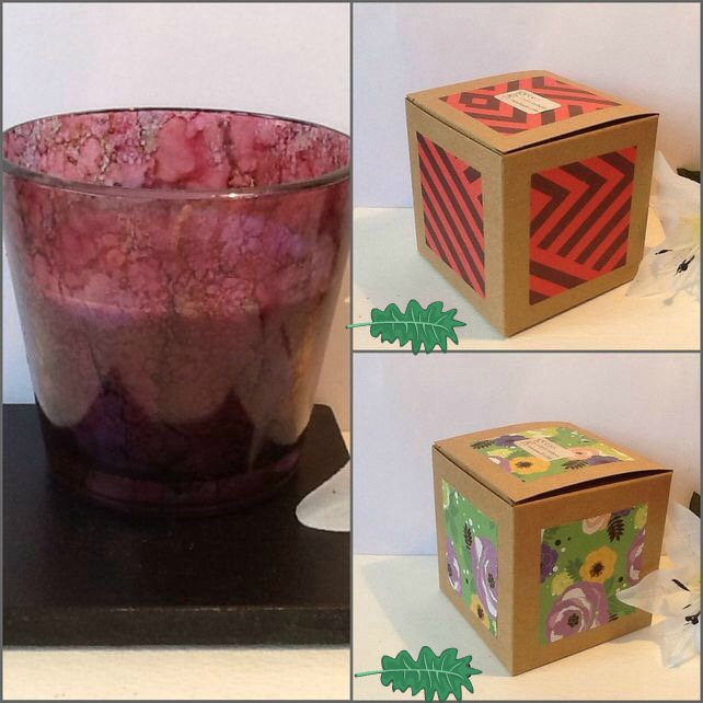 GRAPE & BLUEBERRY Unique Hand Decorated Jar Candle Gift Boxed