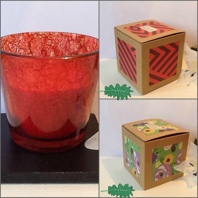STRAWBERRY CRUSH Hand Decorated Unique Glass Jar Candle Gift Boxed