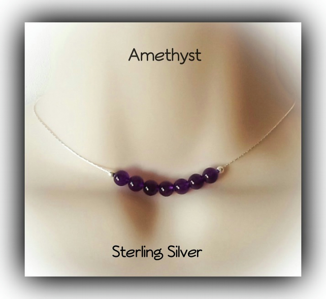 Sterling Silver Amethyst Gemstone Necklace Gift Boxed Xmas Birthday Gift