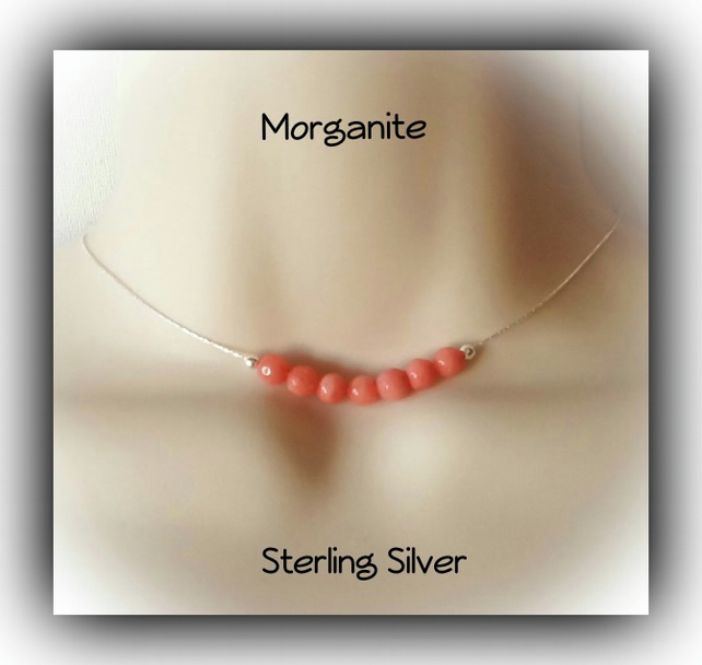 Sterling Silver Pink Morganite Gemstone Necklace Gift Boxed Xmas Birthday Gift