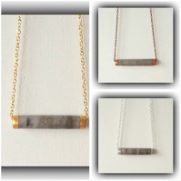 Minimalist Grey Bar Necklace in 3 Finishes Gift Boxed Christmas Birthday Gift