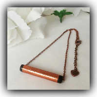 Contemporary Shiny Copper Bar Necklace Gift Boxed for Christmas Birthday Gift