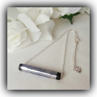 Contemporary Shiny Gunmetal Bar Necklace Gift Boxed Christmas Birthday Gift