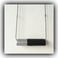 Minimalist Black & Silver Bar Necklace Gift Boxed Christmas Birthday Gift
