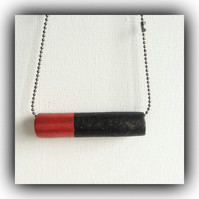 Minimalist Black & Red Bar Necklace Gift Boxed Christmas Birthday Gift