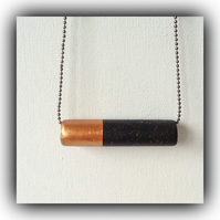 Contemporary Black & Copper Bar Necklace Gift Boxed Christmas Birthday Gift