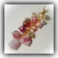 Pink & Gold 'Summer Berry' Bag Charm Gift Boxed Xmas Birthday Girl Woman Gift