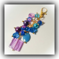 Lilac & Teal Bag Charm Gift Boxed Xmas Birthday Gift Woman Girlfriend Wife Teen