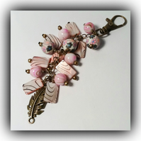 Pink Shell Bronze Bag Charm Gift Boxed Xmas Birthday Woman Mother Girlfriend