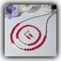 Red & Silver Necklace Bracelet & Earrings Set Gift Boxed Birthday Xmas Gift