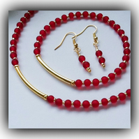 Red & Gold Necklace Bracelet & Earrings Set Gift Boxed Birthday Xmas Gift
