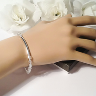 Winter Ice Crystal Silver Plated Stretch Bracelet Gift Boxed Birthday Xmas Woman