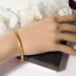 Golden Crystal Gold Plated Dainty Stretch Bracelet Gift Boxed Birthday Xmas