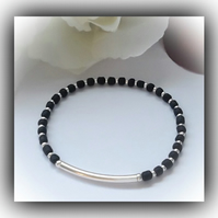 Black Silver Plated Stretch Bracelet Gift Boxed Birthday Xmas Gift Ladies Women