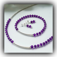 Purple & Silver Necklace Bracelet & Earrings Set Gift Boxed Birthday Ladies Gift