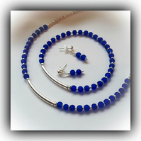 Blue & Silver Necklace Bracelet Earrings Set Gift Boxed Ladies Xmas Birthday