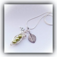 Silver Plated Olive Green Pea Pod Necklace Gift Boxed Birthday Mother Daughter