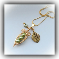 Olive Green Golden Pea Pod Necklace Gift Boxed Birthday Mother Girlfriend Gift