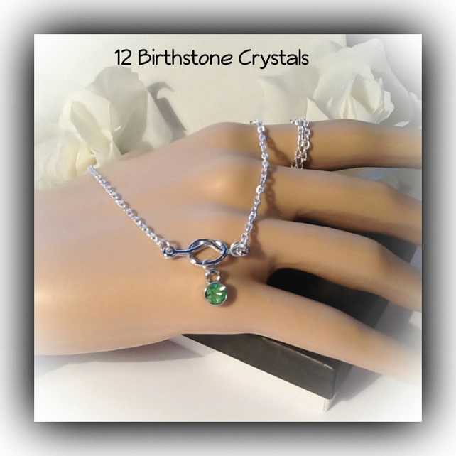 Birthstone Lovers Knot Crystal Pendant Necklace Gift Boxed Valentine