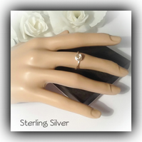 Sterling Silver Dainty Rose Promise Ring Gift Boxed Valentine Love Friendship