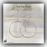 Sterling Silver Hammered Hoop Earrings Gift Boxed Birthday Anniversary Gift