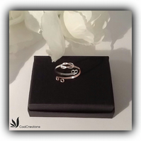 Two Tone Silver & Rose Gold Lovers Knot Adjustable Reversible Ring Gift Boxed