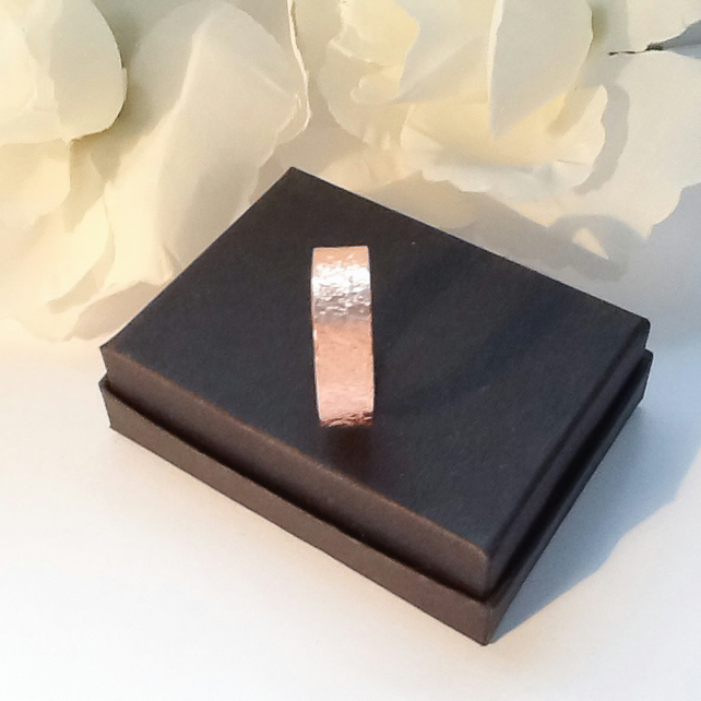 Copper Ring Adjustable Textured Gift Boxed Women's Birthday Anniversary Partner
