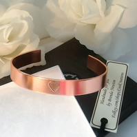 Copper Heart Cuff Bangle Adjustable Gift Boxed Birthday Mothers Day Girlfriend