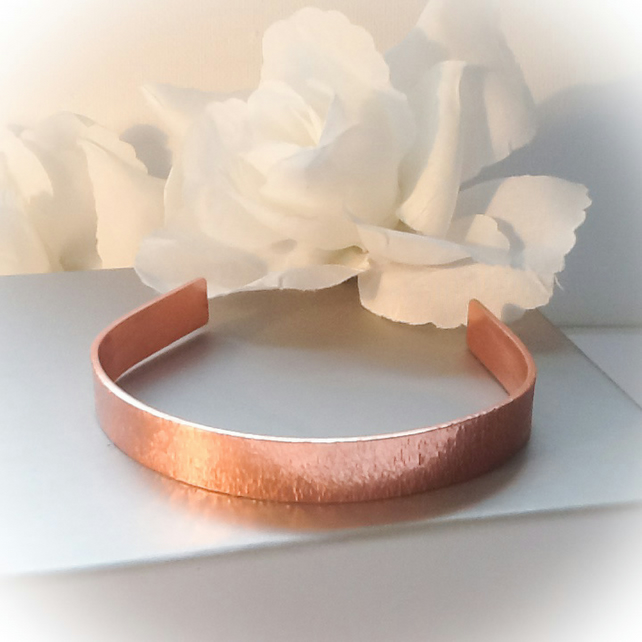 Hand Textured Copper Cuff Bangle Adjustable Gift Boxed Birthday Mothers Day