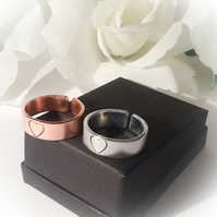 Sweet Heart Rings in Silver or Copper Adjustable Gift Boxed Mothers Day Gift