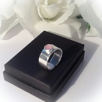 Sterling Silver Adjustable Ring Pink Mother of Pearl Gemstone Gift Boxed Gift