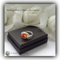 Sterling Silver Swarovski 'Fire Opal' Crystal Ring Gift Boxed Birthday Mother