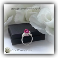 Sterling Silver Swarovski 'Fuchsia' Crystal Ring Gift Boxed Birthday Mother Gift