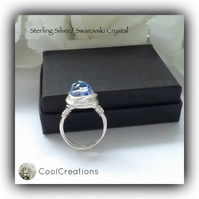 Sterling Silver Blue Swarovski Crystal Ring Gift Boxed Birthday Anniversary Gift