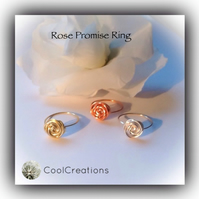 Rose Promise Ring in Silver Gold & Copper Gift Boxed Valentine Love Friendship