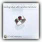 Solid Silver Adjustable Ring with Red Carnelian Gemstone Gift Boxed Gift