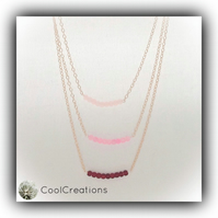 Multi Layered Pale Rose Gold Chain Necklace with Frosted Beads Gift Boxed