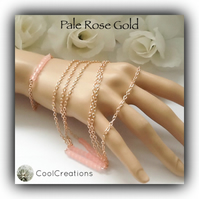 Triple Strand Pale Rose Gold Necklace With Matching Bracelet Gift Boxed Birthday